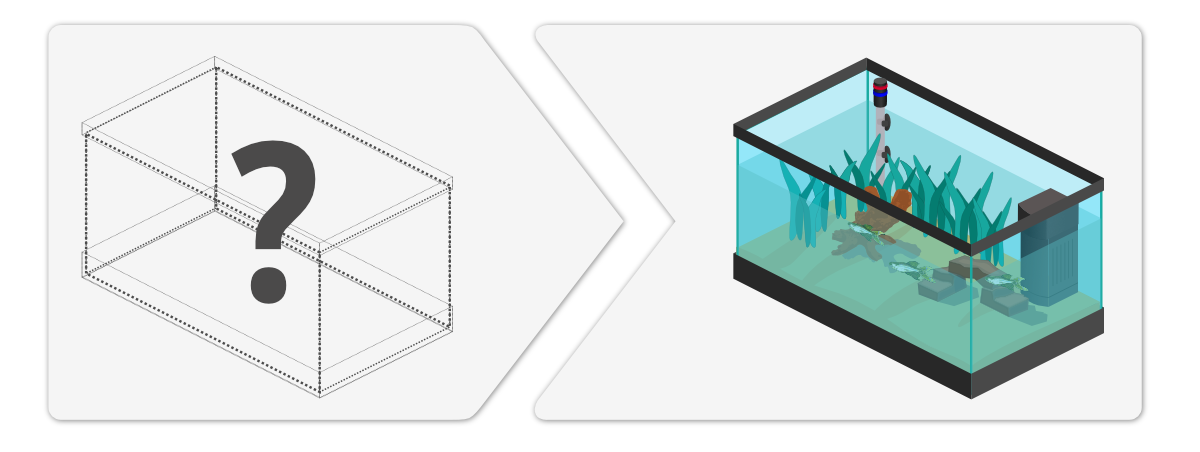 On the left side an aquarium with just black lines; on the right a fully setup aquarium